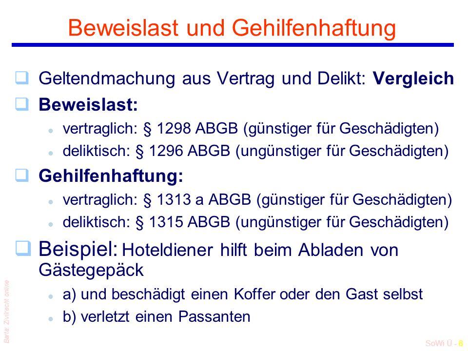 SoWi Ü - 8 Barta: Zivilrecht online Beweislast und Gehilfenhaftung qGeltendmachung aus Vertrag und Delikt: Vergleich qBeweislast: l vertraglich: § 1298 ABGB (günstiger für Geschädigten) l deliktisch: § 1296 ABGB (ungünstiger für Geschädigten) qGehilfenhaftung: l vertraglich: § 1313 a ABGB (günstiger für Geschädigten) l deliktisch: § 1315 ABGB (ungünstiger für Geschädigten) qBeispiel: Hoteldiener hilft beim Abladen von Gästegepäck l a) und beschädigt einen Koffer oder den Gast selbst l b) verletzt einen Passanten