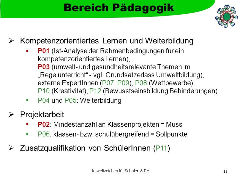"""Umweltzeichen für Schulen & PH 11  Kompetenzorientiertes Lernen und Weiterbildung  P01 (Ist-Analyse der Rahmenbedingungen für ein kompetenzorientiertes Lernen), P03 (umwelt- und gesundheitsrelevante Themen im """"Regelunterricht - vgl."""