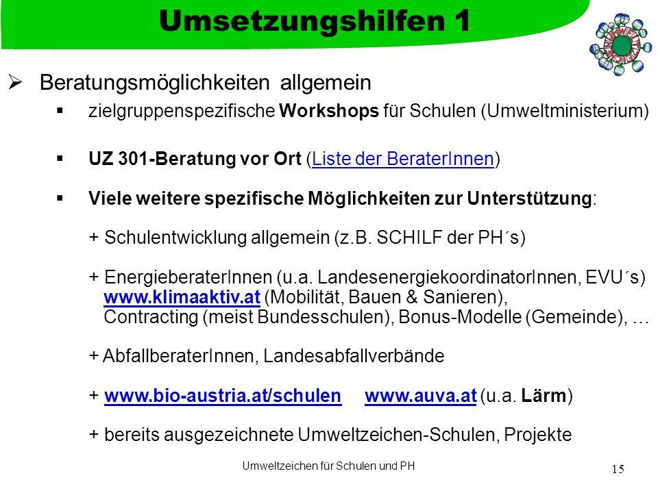 Umweltzeichen für Schulen und PH 15  Beratungsmöglichkeiten allgemein  zielgruppenspezifische Workshops für Schulen (Umweltministerium)  UZ 301-Ber
