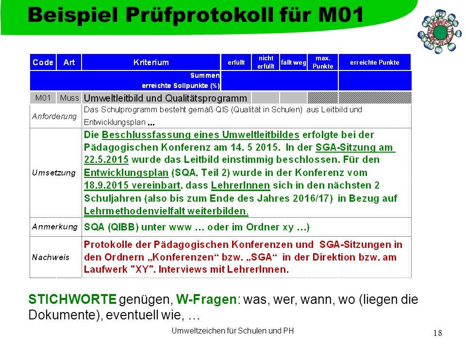 Umweltzeichen für Schulen und PH 18 Beispiel Prüfprotokoll für M01 STICHWORTE genügen, W-Fragen: was, wer, wann, wo (liegen die Dokumente), eventuell wie, …