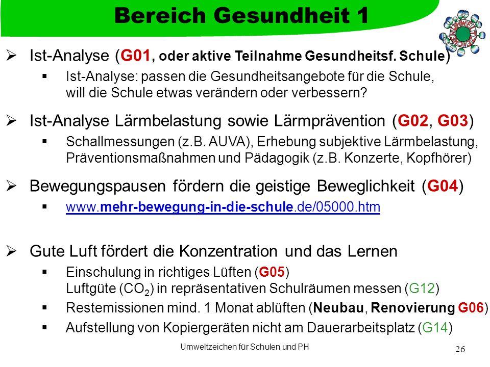Umweltzeichen für Schulen und PH 26  Ist-Analyse (G01, oder aktive Teilnahme Gesundheitsf. Schule )  Ist-Analyse: passen die Gesundheitsangebote für