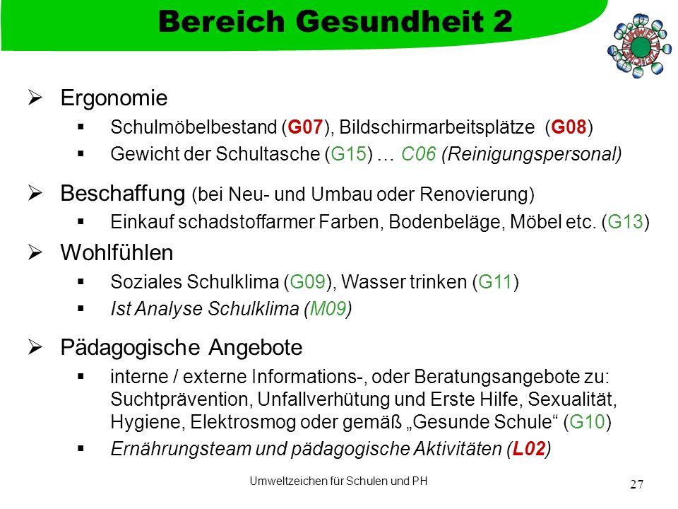 Umweltzeichen für Schulen und PH 27  Ergonomie  Schulmöbelbestand (G07), Bildschirmarbeitsplätze (G08)  Gewicht der Schultasche (G15) … C06 (Reinig