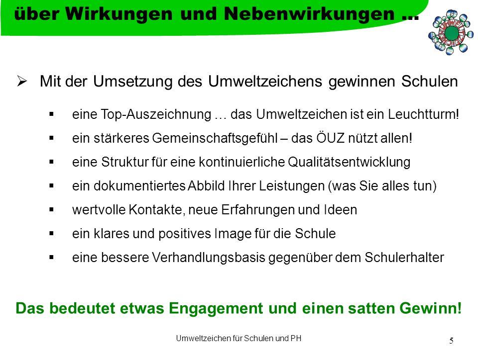 Umweltzeichen für Schulen & PH 6  Information und Kommunikation  Direktion und möglichst viele KollegInnen einbeziehen, auch MitarbeiterInnen (z.B.