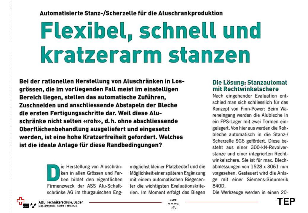 TEP 09.03.2016 26 &[Datei] ABB Technikerschule, Baden Eidg. anerkannte höhere Fachschule