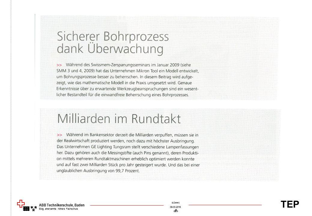 TEP 09.03.2016 44 &[Datei] ABB Technikerschule, Baden Eidg. anerkannte höhere Fachschule