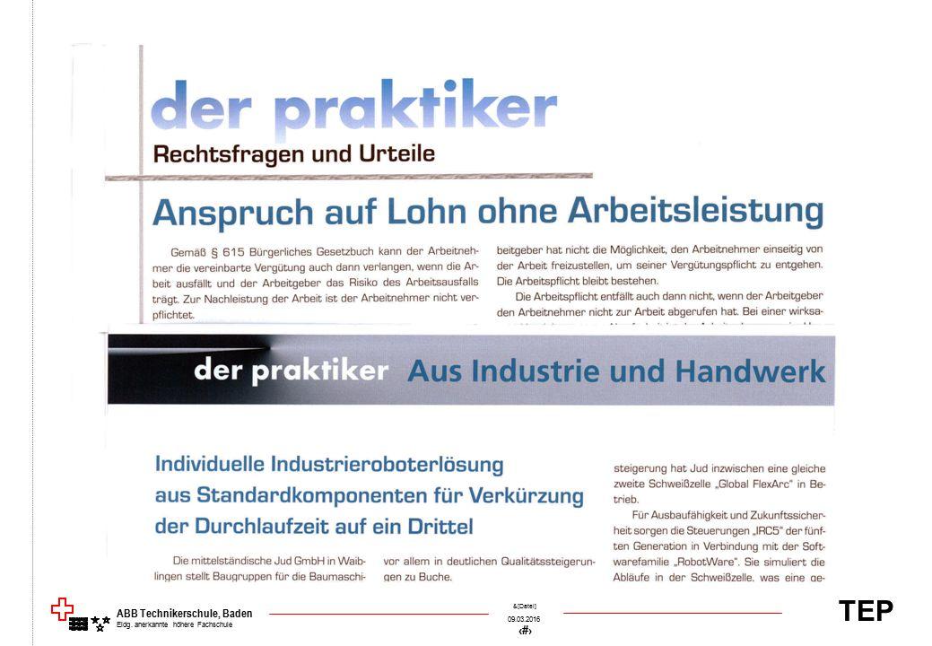 TEP 09.03.2016 50 &[Datei] ABB Technikerschule, Baden Eidg. anerkannte höhere Fachschule