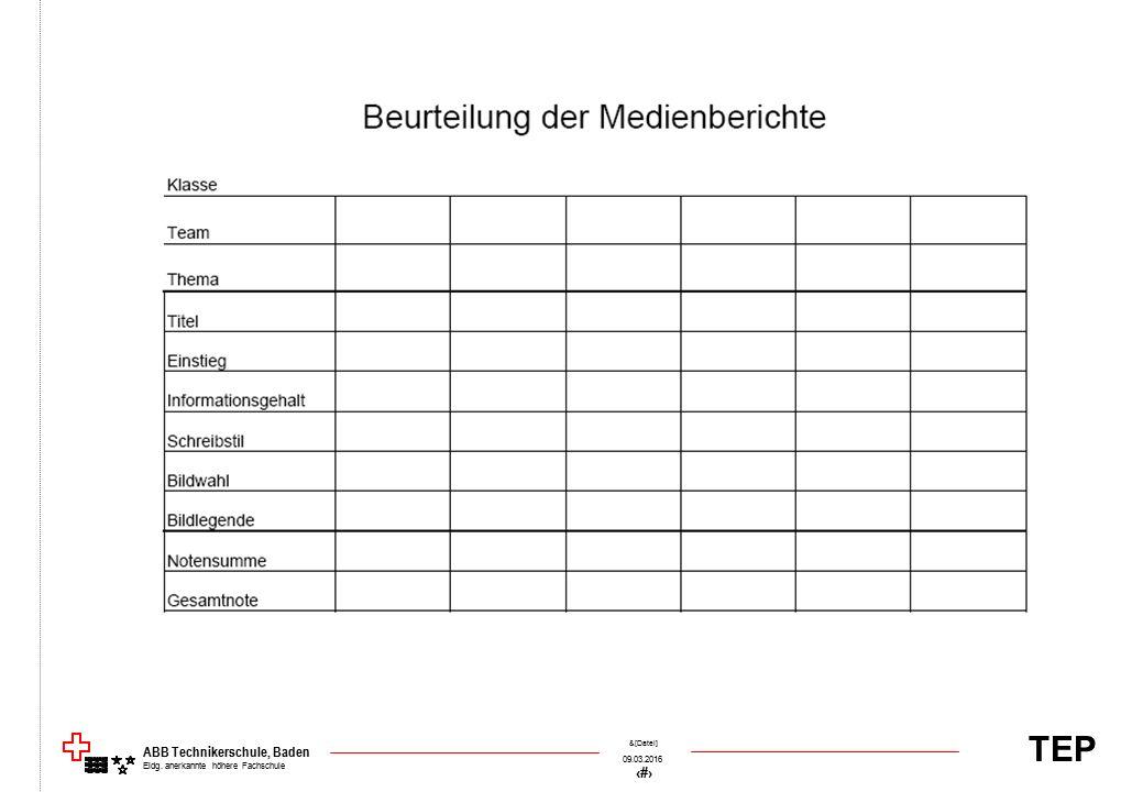 TEP 09.03.2016 71 &[Datei] ABB Technikerschule, Baden Eidg. anerkannte höhere Fachschule