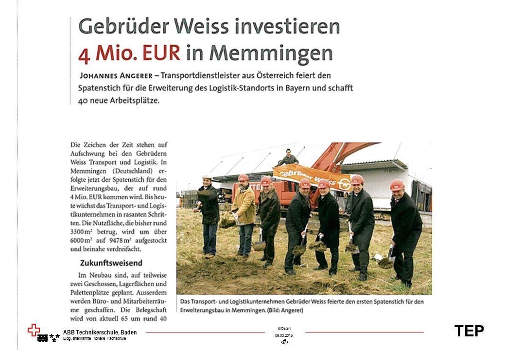 TEP 09.03.2016 8 &[Datei] ABB Technikerschule, Baden Eidg. anerkannte höhere Fachschule
