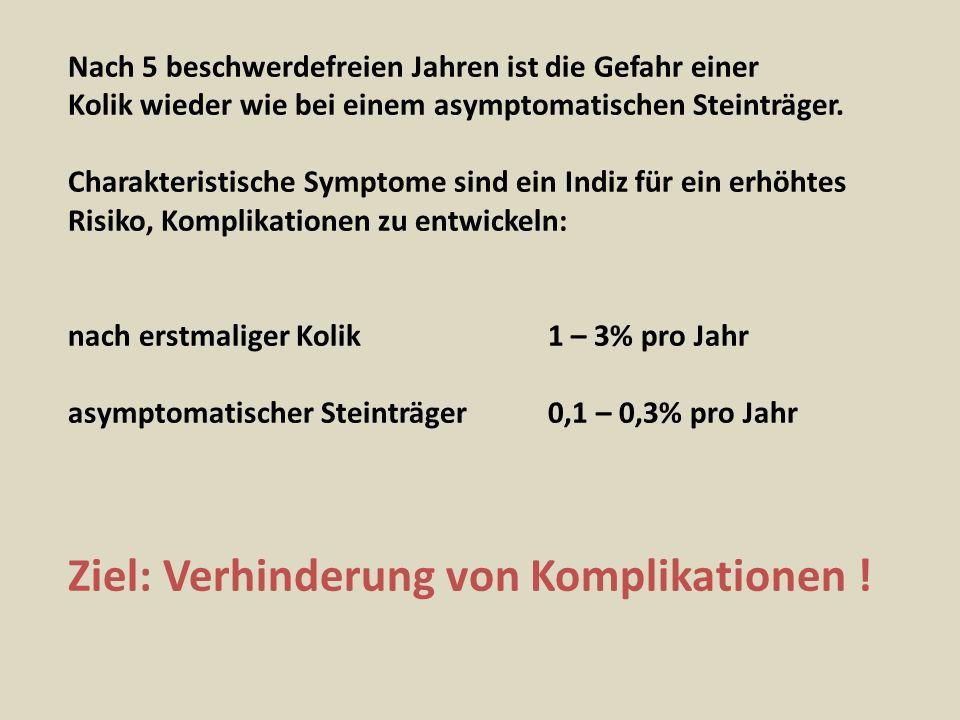 Nach 5 beschwerdefreien Jahren ist die Gefahr einer Kolik wieder wie bei einem asymptomatischen Steinträger. Charakteristische Symptome sind ein Indiz