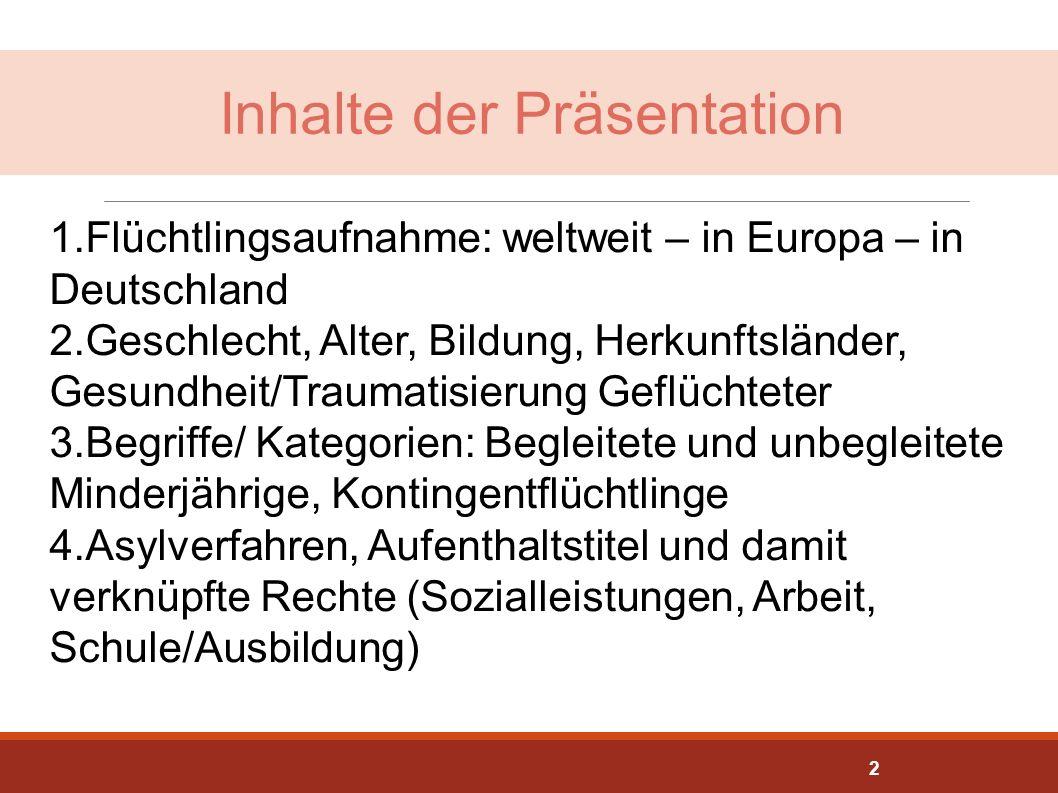 Inhalte der Präsentation 1.Flüchtlingsaufnahme: weltweit – in Europa – in Deutschland 2.Geschlecht, Alter, Bildung, Herkunftsländer, Gesundheit/Trauma