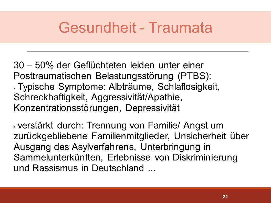 Gesundheit - Traumata 30 – 50% der Geflüchteten leiden unter einer Posttraumatischen Belastungsstörung (PTBS): Typische Symptome: Albträume, Schlaflos