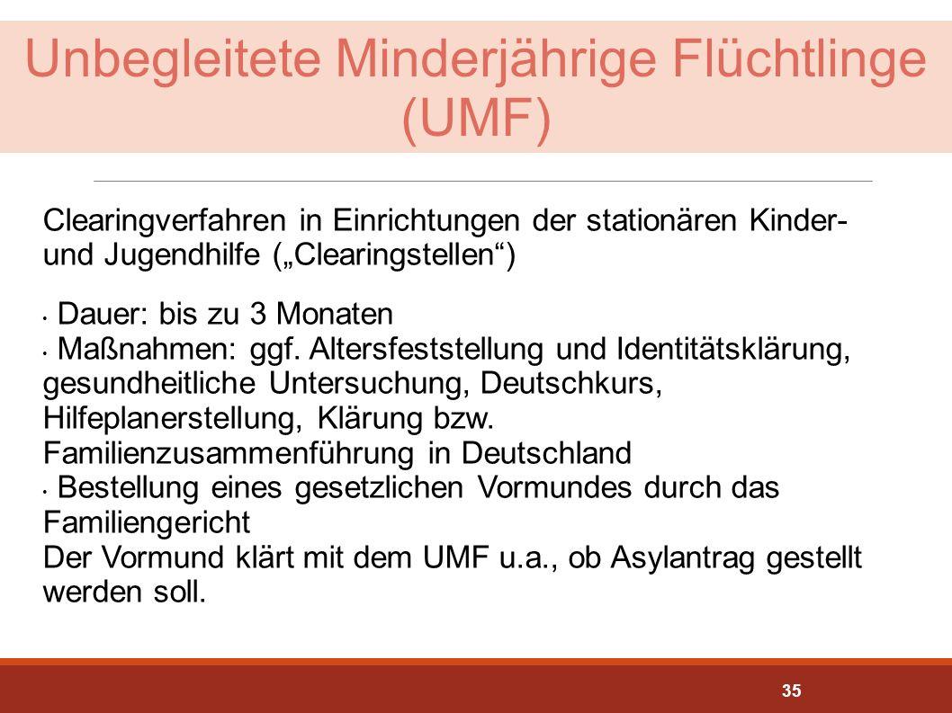 """Unbegleitete Minderjährige Flüchtlinge (UMF) Clearingverfahren in Einrichtungen der stationären Kinder- und Jugendhilfe (""""Clearingstellen"""") Dauer: bis"""