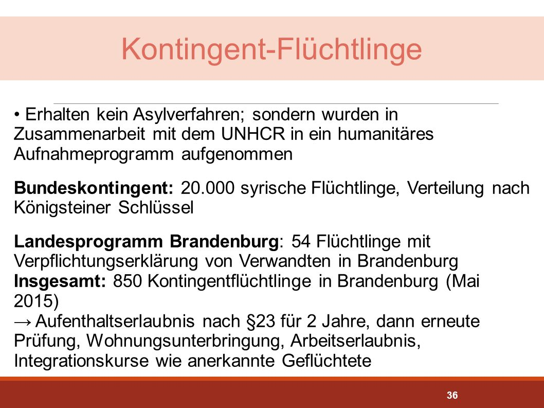 Kontingent-Flüchtlinge Erhalten kein Asylverfahren; sondern wurden in Zusammenarbeit mit dem UNHCR in ein humanitäres Aufnahmeprogramm aufgenommen Bun