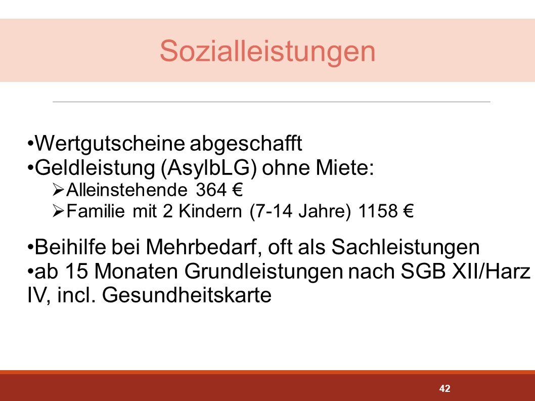 Sozialleistungen Wertgutscheine abgeschafft Geldleistung (AsylbLG) ohne Miete:  Alleinstehende 364 €  Familie mit 2 Kindern (7-14 Jahre) 1158 € Beih