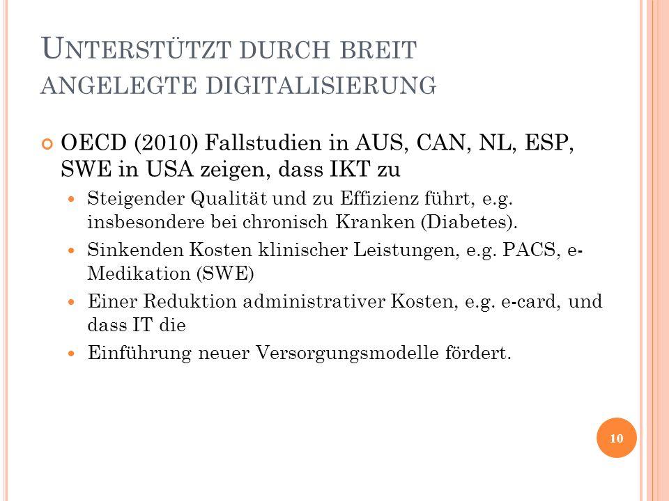 OECD (2010) Fallstudien in AUS, CAN, NL, ESP, SWE in USA zeigen, dass IKT zu Steigender Qualität und zu Effizienz führt, e.g. insbesondere bei chronis