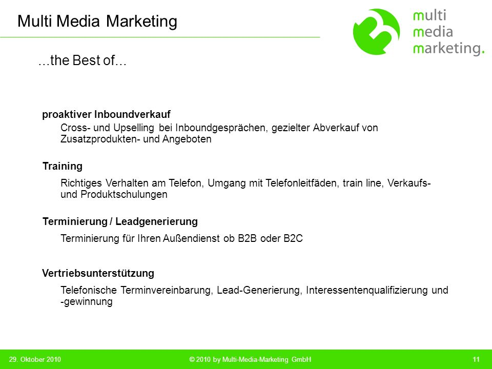 Multi Media Marketing © 2010 by Multi-Media-Marketing GmbH...the Best of...