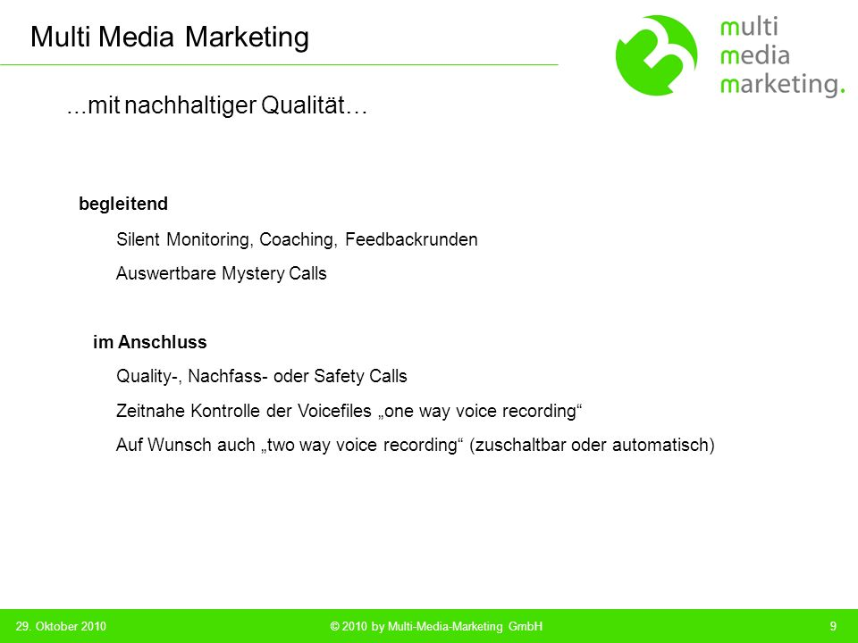 Multi Media Marketing © 2010 by Multi-Media-Marketing GmbH...die Klassiker und...