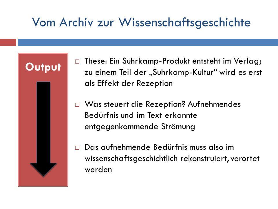 """Vom Archiv zur Wissenschaftsgeschichte Output  These: Ein Suhrkamp-Produkt entsteht im Verlag; zu einem Teil der """"Suhrkamp-Kultur wird es erst als Effekt der Rezeption  Was steuert die Rezeption."""