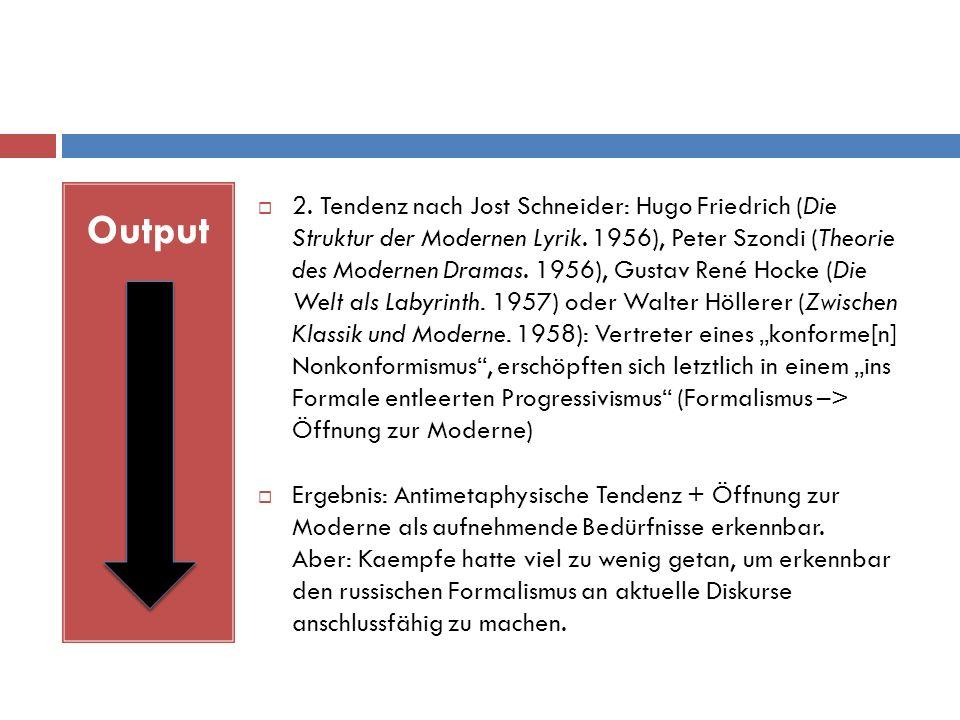 Output  2. Tendenz nach Jost Schneider: Hugo Friedrich (Die Struktur der Modernen Lyrik.