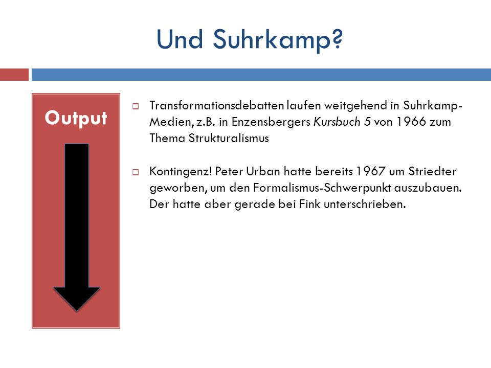 Und Suhrkamp. Output  Transformationsdebatten laufen weitgehend in Suhrkamp- Medien, z.B.