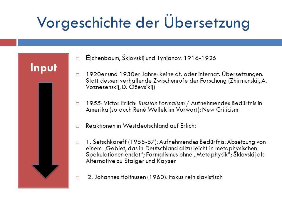Vorgeschichte der Übersetzung Input  Ė jchenbaum, Šklovskij und Tynjanov: 1916-1926  1920er und 1930er Jahre: keine dt.