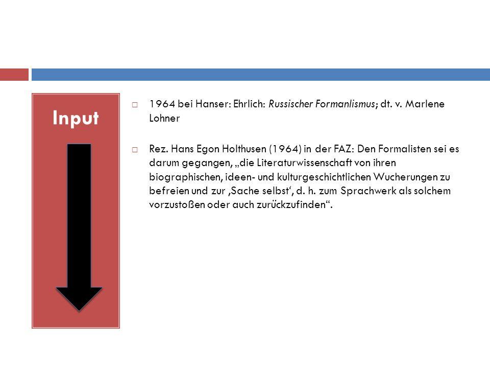 Input  1964 bei Hanser: Ehrlich: Russischer Formanlismus; dt.