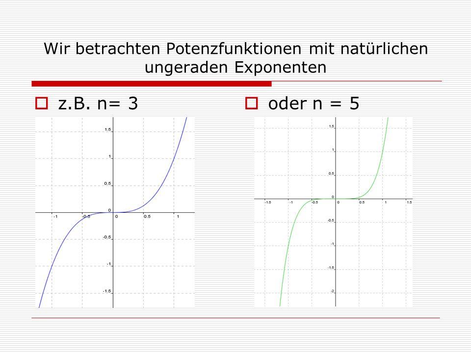 Wir betrachten Potenzfunktionen mit natürlichen ungeraden Exponenten  z.B. n= 3   oder n = 5