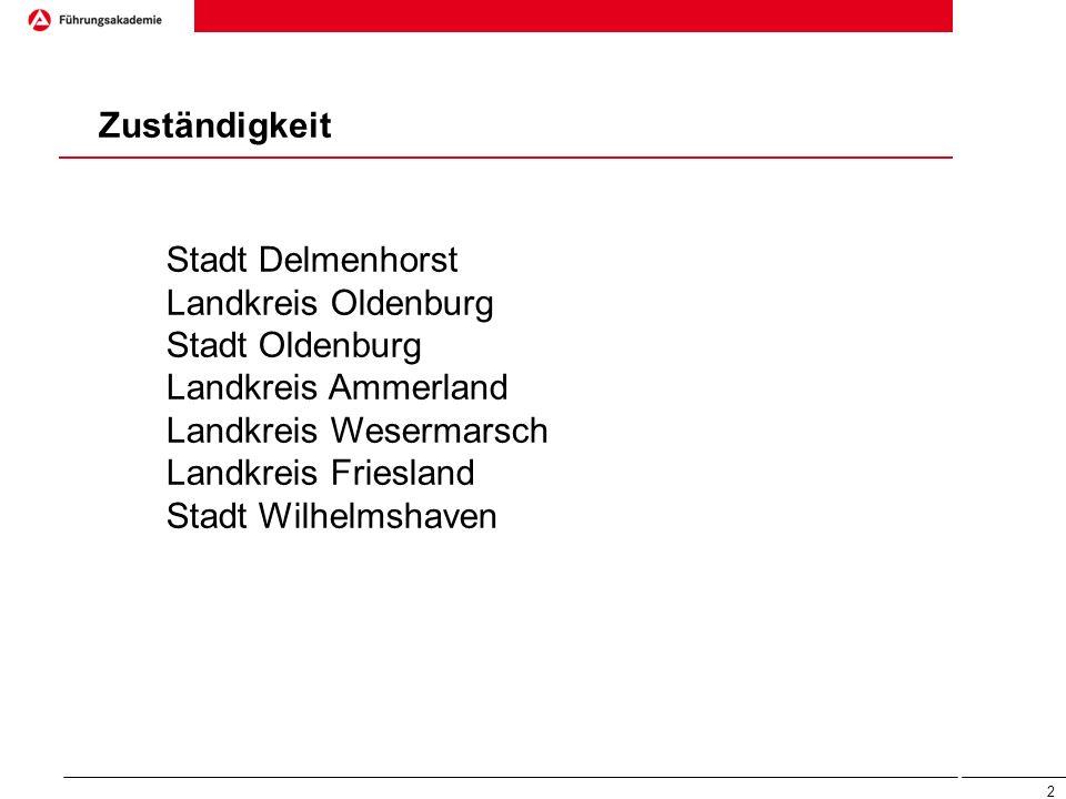 2 Zuständigkeit Stadt Delmenhorst Landkreis Oldenburg Stadt Oldenburg Landkreis Ammerland Landkreis Wesermarsch Landkreis Friesland Stadt Wilhelmshave