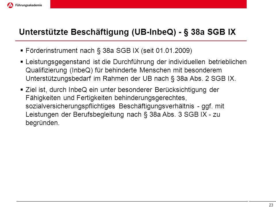Unterstützte Beschäftigung (UB-InbeQ) - § 38a SGB IX  Förderinstrument nach § 38a SGB IX (seit 01.01.2009)  Leistungsgegenstand ist die Durchführung
