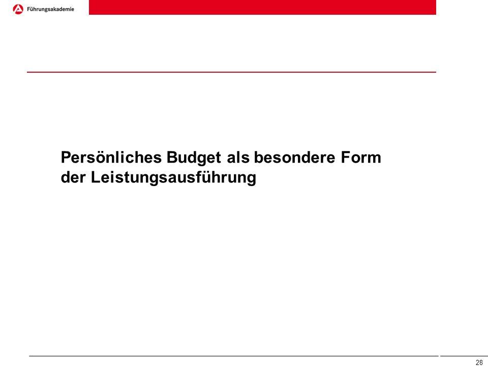 Persönliches Budget als besondere Form der Leistungsausführung 28
