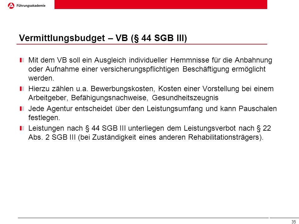 Vermittlungsbudget – VB (§ 44 SGB III) Mit dem VB soll ein Ausgleich individueller Hemmnisse für die Anbahnung oder Aufnahme einer versicherungspflich