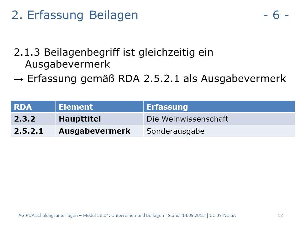 2. Erfassung Beilagen - 6 - 2.1.3 Beilagenbegriff ist gleichzeitig ein Ausgabevermerk → Erfassung gemäß RDA 2.5.2.1 als Ausgabevermerk AG RDA Schulung