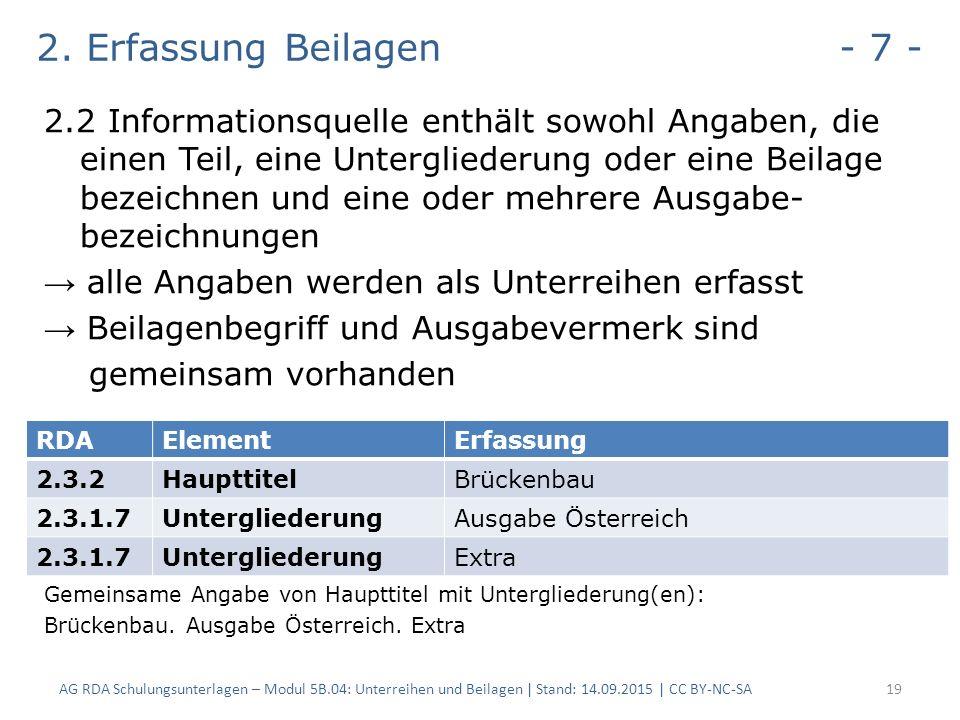 2. Erfassung Beilagen - 7 - 2.2 Informationsquelle enthält sowohl Angaben, die einen Teil, eine Untergliederung oder eine Beilage bezeichnen und eine