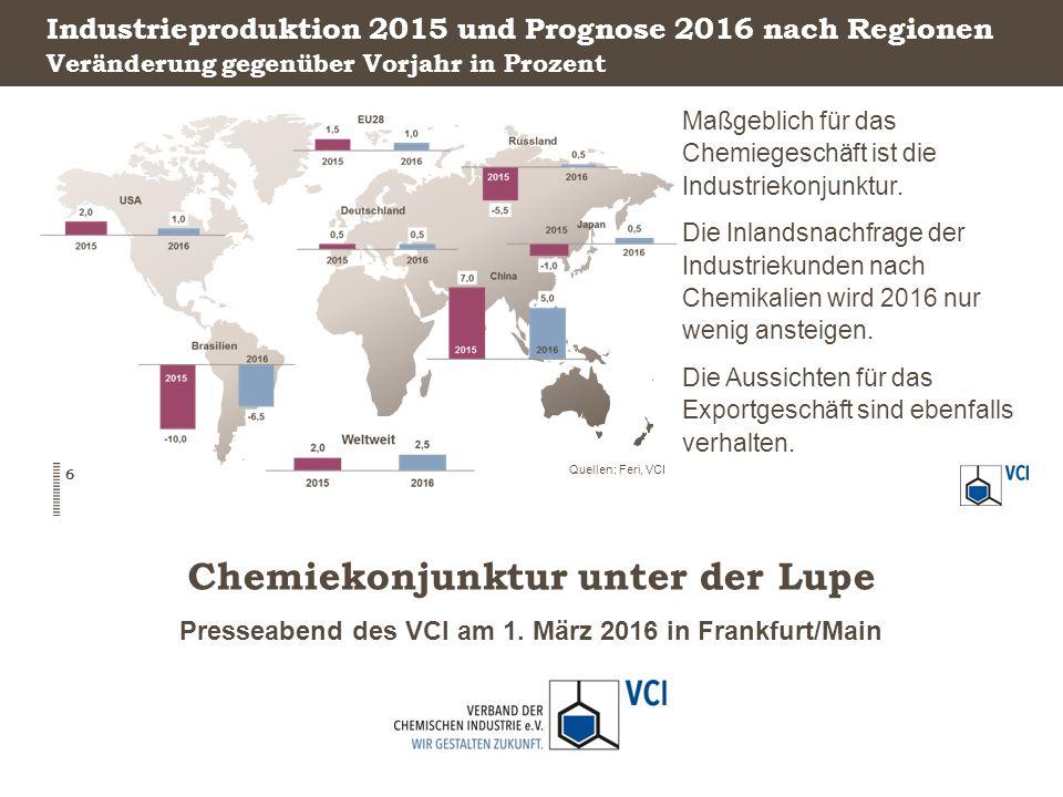 Presseabend des VCI am 1. März 2016 in Frankfurt/Main Chemiekonjunktur unter der Lupe Industrieproduktion 2015 und Prognose 2016 nach Regionen Maßgebl