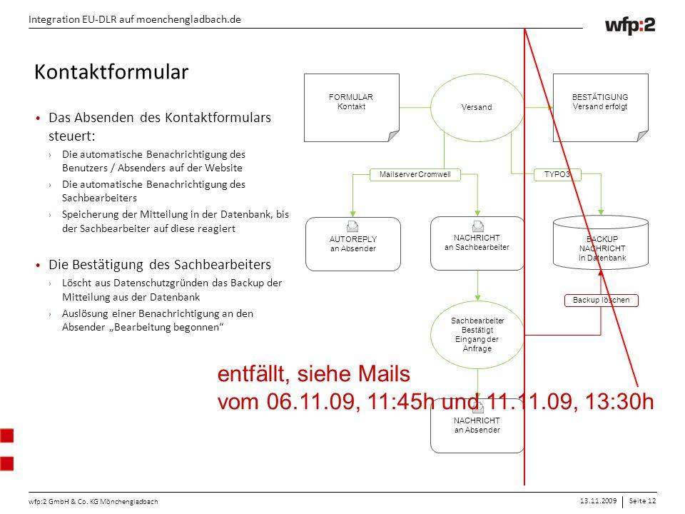 13.11.2009Seite 12 wfp:2 GmbH & Co. KG Mönchengladbach Integration EU-DLR auf moenchengladbach.de FORMULAR Kontakt BESTÄTIGUNG Versand erfolgt Versand