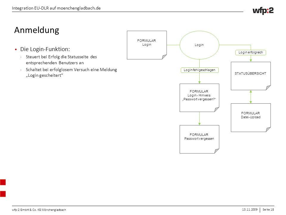 13.11.2009Seite 18 wfp:2 GmbH & Co. KG Mönchengladbach Integration EU-DLR auf moenchengladbach.de FORMULAR Login STATUSÜBERSICHT FORMULAR Datei-Upload