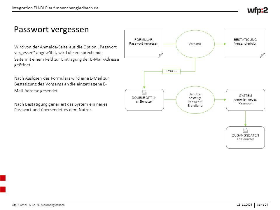 13.11.2009Seite 24 wfp:2 GmbH & Co. KG Mönchengladbach Integration EU-DLR auf moenchengladbach.de FORMULAR Passwort vergessen BESTÄTIGUNG Versand erfo