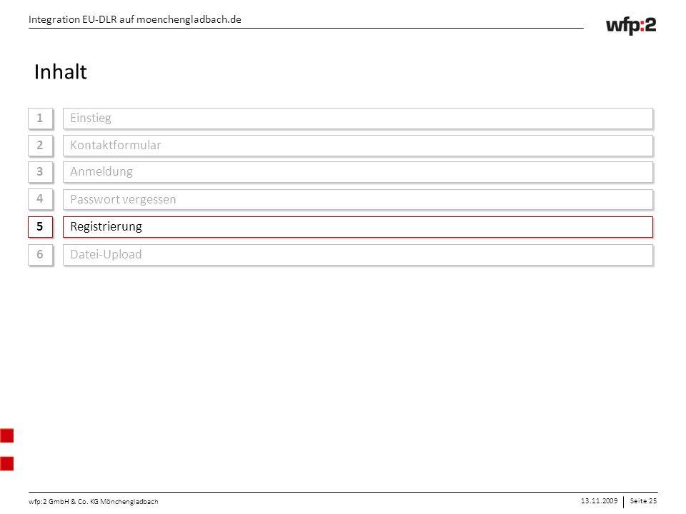 13.11.2009Seite 25 wfp:2 GmbH & Co. KG Mönchengladbach Integration EU-DLR auf moenchengladbach.de 1 1 Einstieg Integration EU-DLR auf moenchengladbach