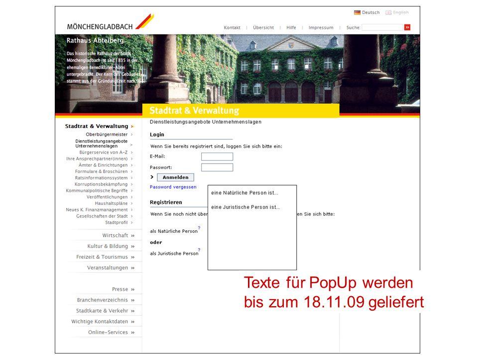 Texte für PopUp werden bis zum 18.11.09 geliefert