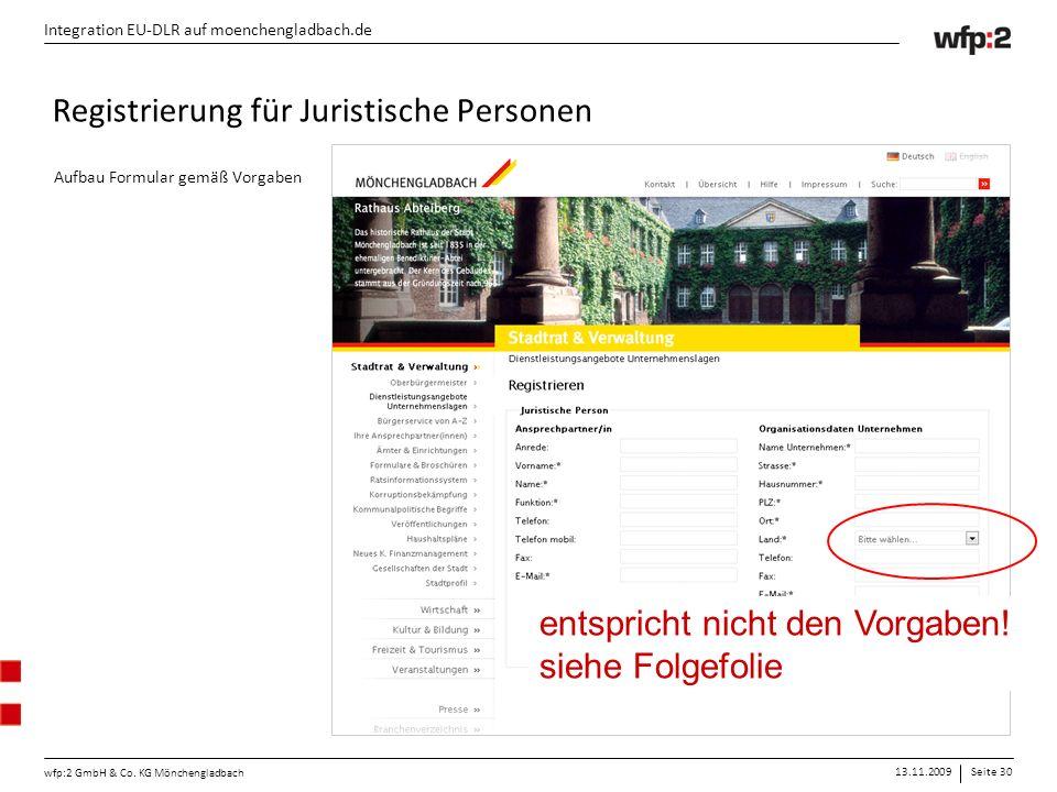 13.11.2009Seite 30 wfp:2 GmbH & Co. KG Mönchengladbach Integration EU-DLR auf moenchengladbach.de Registrierung für Juristische Personen Aufbau Formul