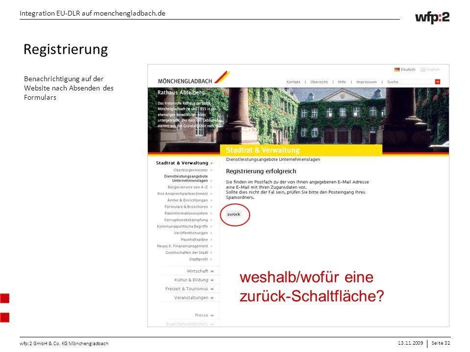 13.11.2009Seite 32 wfp:2 GmbH & Co. KG Mönchengladbach Integration EU-DLR auf moenchengladbach.de Registrierung Benachrichtigung auf der Website nach