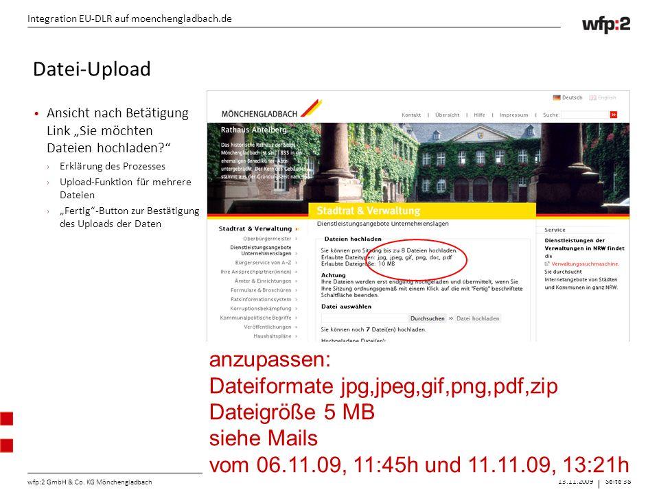 """13.11.2009Seite 38 wfp:2 GmbH & Co. KG Mönchengladbach Integration EU-DLR auf moenchengladbach.de Ansicht nach Betätigung Link """"Sie möchten Dateien ho"""