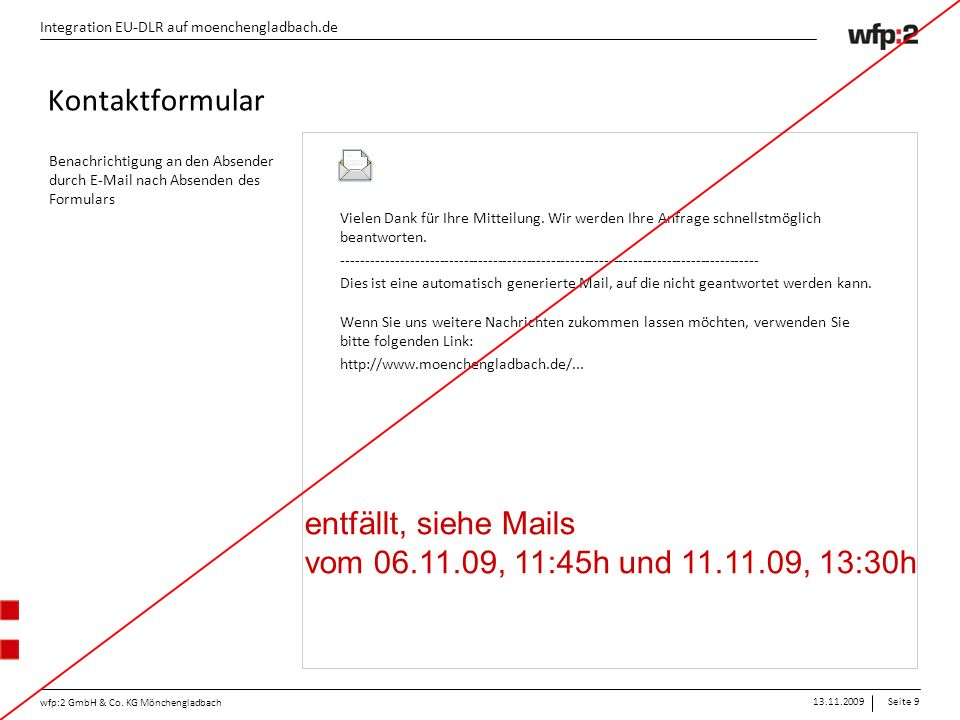 13.11.2009Seite 20 wfp:2 GmbH & Co.
