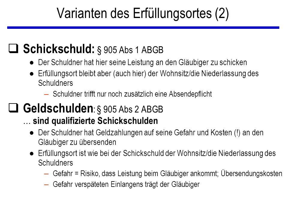 Varianten des Erfüllungsortes (2) q Schickschuld: § 905 Abs 1 ABGB ● Der Schuldner hat hier seine Leistung an den Gläubiger zu schicken ● Erfüllungsor