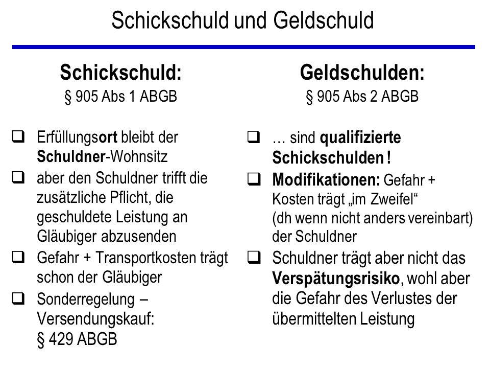 Schickschuld und Geldschuld Schickschuld: § 905 Abs 1 ABGB qErfüllungs ort bleibt der Schuldner -Wohnsitz qaber den Schuldner trifft die zusätzliche P