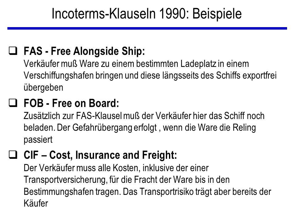 Incoterms-Klauseln 1990: Beispiele q FAS - Free Alongside Ship: Verkäufer muß Ware zu einem bestimmten Ladeplatz in einem Verschiffungshafen bringen u