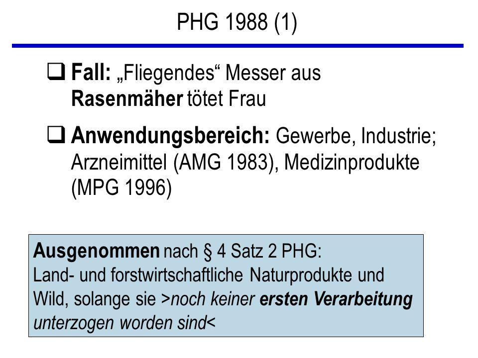 """PHG 1988 (1) q Fall: """" Fliegendes"""" Messer aus Rasenmäher tötet Frau q Anwendungsbereich: Gewerbe, Industrie; Arzneimittel (AMG 1983), Medizinprodukte"""