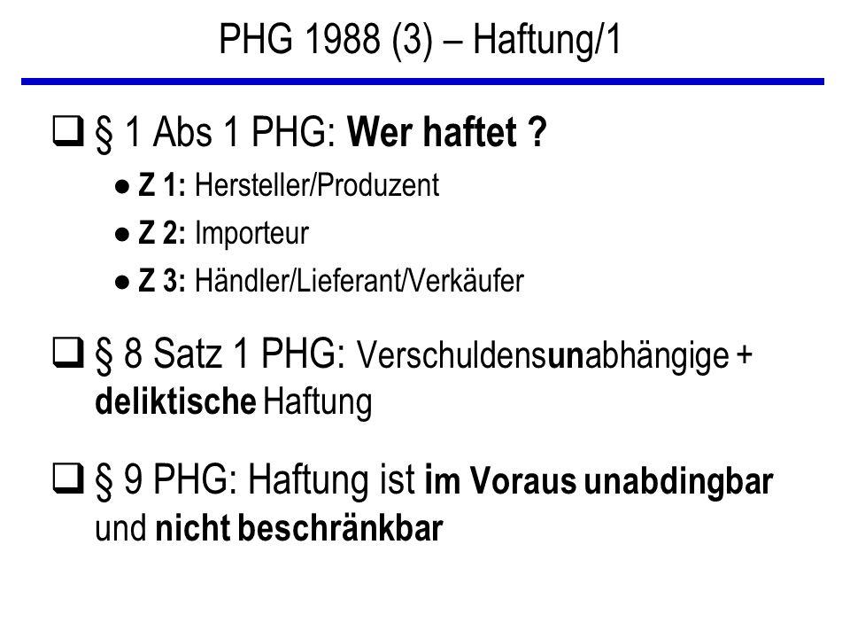 PHG 1988 (3) – Haftung/1 q§ 1 Abs 1 PHG: Wer haftet ? ● Z 1: Hersteller/Produzent ● Z 2: Importeur ● Z 3: Händler/Lieferant/Verkäufer q§ 8 Satz 1 PHG: