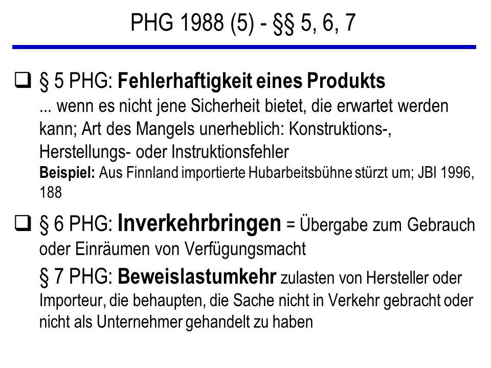 PHG 1988 (5) - §§ 5, 6, 7 q§ 5 PHG: Fehlerhaftigkeit eines Produkts... wenn es nicht jene Sicherheit bietet, die erwartet werden kann; Art des Mangels