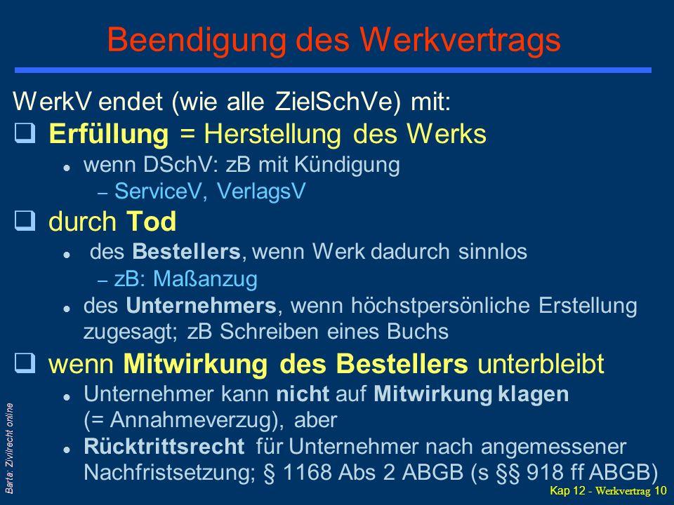 Kap 12 - Werkvertrag 10 Barta: Zivilrecht online Beendigung des Werkvertrags WerkV endet (wie alle ZielSchVe) mit: qErfüllung = Herstellung des Werks